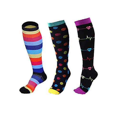 - Compression Socks for Women & Men 15-20 mmHg Novelty Stockings for Nursing Shin Splints Flight Travel Maternity Pregnancy Athletic 3 Pairs, S/M Color 4