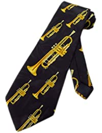 Mens Trumpet Brass Instrument Necktie - Black - One Size Neck Tie