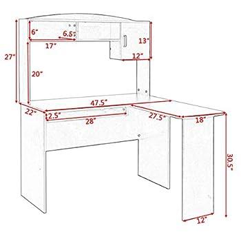 Tangkula L Shaped Desk Corner Home Office Computer Desk with Hutch (Black & Brown)