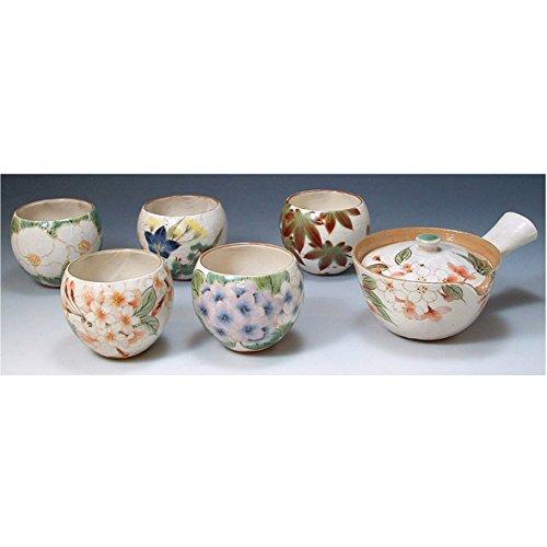 Kiyomizu-yaki ware. Set of Japanese yunomi teacup and kyusu teapot hanagawari with paper box. ceramic. kymz-toua595