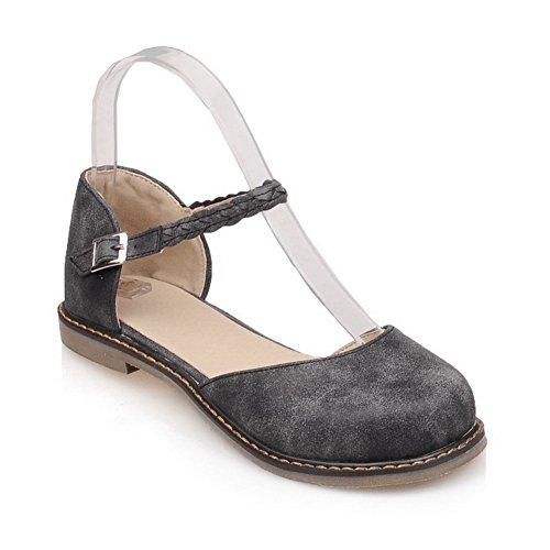 BalaMasa Womens Sandals Closed-Toe No-Closure Low-Heel Cold Lining Huarache Travel Slip-Resistant Fabric Urethane Sandals ASL04518 Black