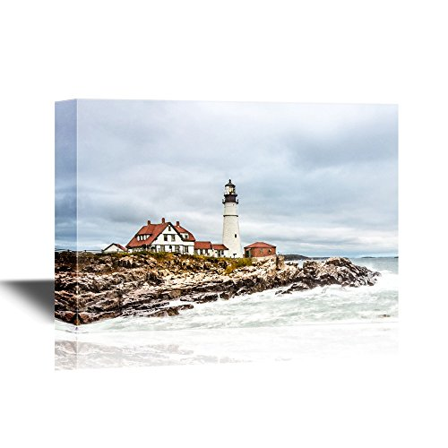 Elizabeth Cape Lighthouse (wall26 Canvas Wall Art - Portland Head Lighthouse in Cape Elizabeth, Maine. - Gallery Wrap Modern Home Decor | Ready to Hang - 16x24 inches)