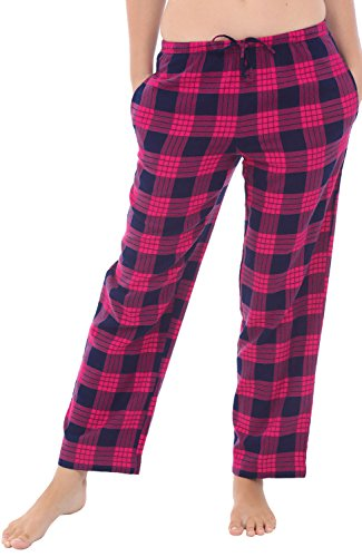 Alexander Del Rossa Womens Flannel Pajama Pants, Long Cotton Pj Bottoms, Small Classic Pink Plaid (A0702Q25SM)