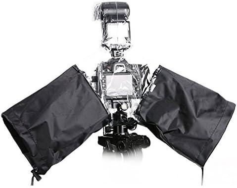 Movo CRC02 Wasserdichter Nylon Regenschutz mit Flash-Gehäuse und verstellbaren Ärmel für DSLR-Kameras mit externen Blitz