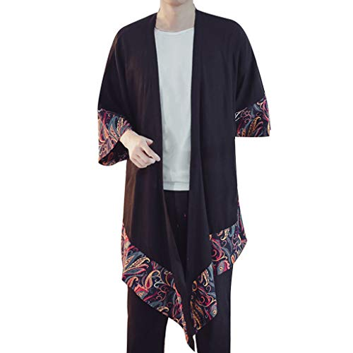 Yucode Men Summer Loose Cotton Linen Printing Patchwork Medium Length Top Cardigan Blouse