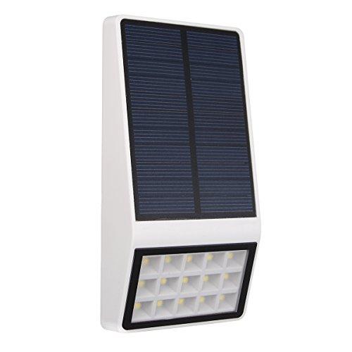 Solar Wall Light, GLISTENY Outdoor Intelligent Microwave Motion Sensor Light Wireless Waterproof Security 15 LED 2000mAh White Ultra Bright Light for Driveway Deck Garden
