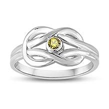 November Birthstone (Swarovski) Zircon Double Love Knot Ring