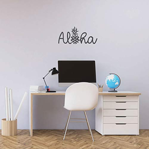 Tropical Polynesian Wall Decor - Aloha Wall Decal with Hawaiian Pineapple Design - Polynesian Island Welcome Greeting - Vinyl Art Sticker Decoration for Living Room, Bedroom, Office, Classroom
