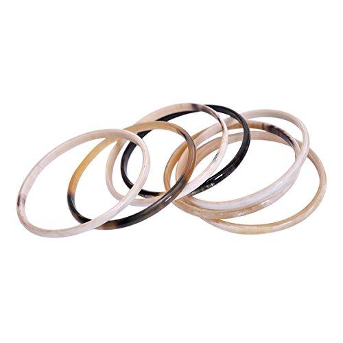 Marycrafts Womens Handmade Horn Fashion Stacking Bangle Bracelet Set Of 7 Large
