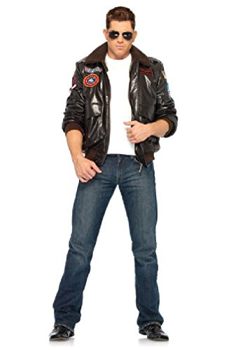 [8eighteen Top Gun Men's Bomber Jacket Fighter Jet Set Adult Halloween Costume] (Top Gun Womens Bomber Jacket Costume)