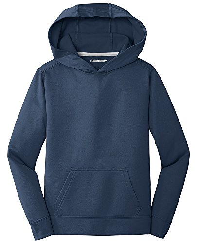 (DRIEQUIP Youth Performance Fleece Pullover Hooded Sweatshirt-Youth-L-DeepNavy)