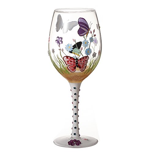 - V-More Wine Glass Hand-Painted Butterflies Decorated with Colorful Rhinestones for Gift Entertaining 20 oz (Set of 1)