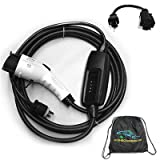 Electric Vehicle Charger Portable EVSE - Dual Voltage 110v-240v Level 1 And Level 2 Charger NEMA 6-20 Plug To J1772 25' Station for EV Charging With Adapter For NEMA 5-15 110v Plug And Carry Case