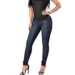 Women Elastic High Waisted Casual Denim Skinny Jeans(32, Dark Blue 1)