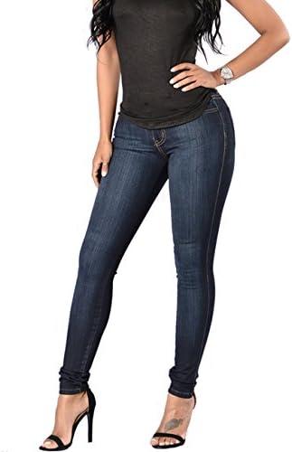 evensleaves Skinny Jean, Mid Rise elástico recto Slim Denim de la mujer Plus tamaño Jeggings