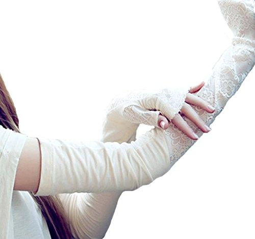 アームカバー ロング サイズ [長さ53cm] 薄手 (typeA) レース 付き フィンガーレス/ミニタオルセット / 紫外線 ガード UV ケア 日焼け 防止 日よけ 手袋 [MG151-01-010]
