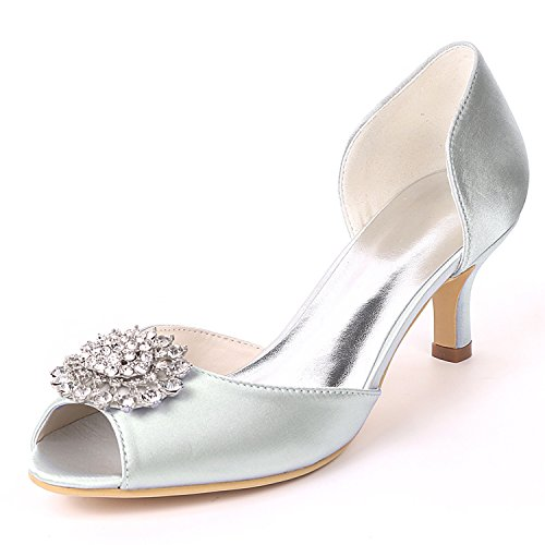Rhinestones Peep YC Wedding air Ivory Toe Satin High Shoes L Women Kitten Silver Heels Heels Side C80xp8Sqw