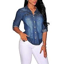Fashion Story Women's Roll Sleeve Button Closure Jeans Blouse Shirt Demin Slim