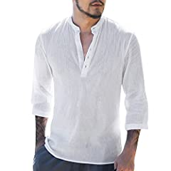 ❤Karlywindow Mens Long Sleeve Henley Shirt Cotton Linen Beach Yoga Loose Fit Henleys Tops Material:Cotton,Linen Sleeve Length:Long sleeve Pattern Type:Solid color Suitable Occasion:Casual,work,holiday,club,party,date,outdoors,sports,street,ho...