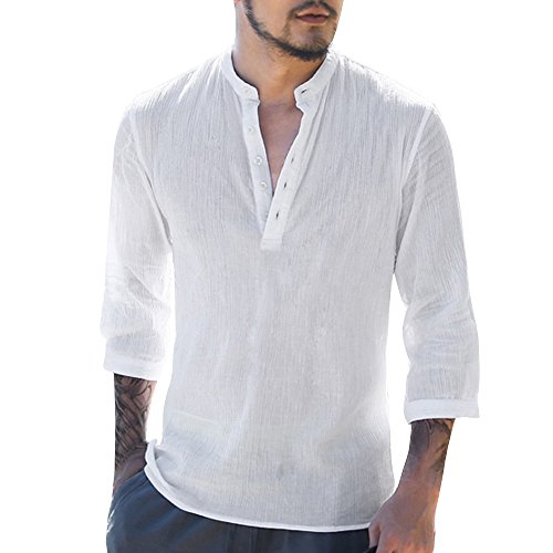 26b5897deb87 Makkrom Mens Casual Loose 3 4 Sleeve Banded Collar Linen Cotton Shirt with  Buttons new