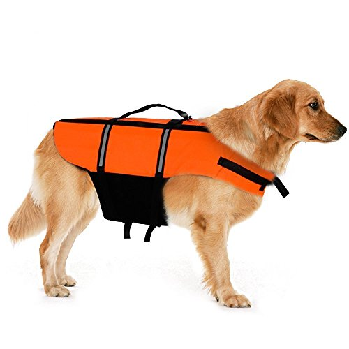 Dog Life Jacket – Jekeno Adjustable Straps Lifejacket with Reflective Area, Dog Life Saver Preserver Vest with Rescue Handle (Bright Orange) by Jekeno