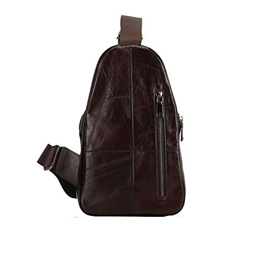 Crossbody Men's Leather suitable Chest color Color Zhou Lightweight Bag Bag casual leisure Sling Coffee vintage Sharon Man's Shoulder Bag Bag leather Top business Bag Brown Places qCEXOcw