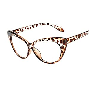 QingFan Women Men Summer Aviator Retro Cat Eye Glasses Unisex Fashion Sunglasses Kids Metal Frame (B, 70)