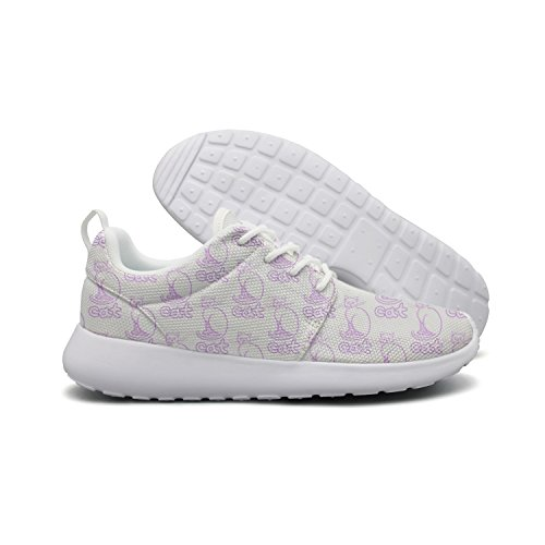 Background Cute Cat Running Cute Travel Shoes Lightweight Opr7 Cat Violet White Sneaker Violet dry quick Women pIaZfqfFO
