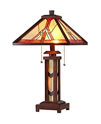 Chloe Lighting CH33429WM15-DT3 Anton, Tiffany-Style Mission 3-Light Double Lit Wooden Table Lamp, 15-Inch, Multi-colored