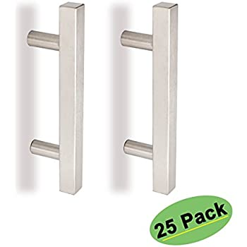 square kitchen cabinet handles drawer pulls brushed nickel t bar 3in hole centers 25 pack