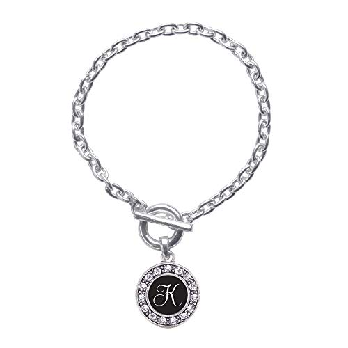 Inspired Silver - My Script Initials - Letter K Toggle Charm Bracelet for Women - Silver Circle Charm Toggle Bracelet with Cubic Zirconia Jewelry