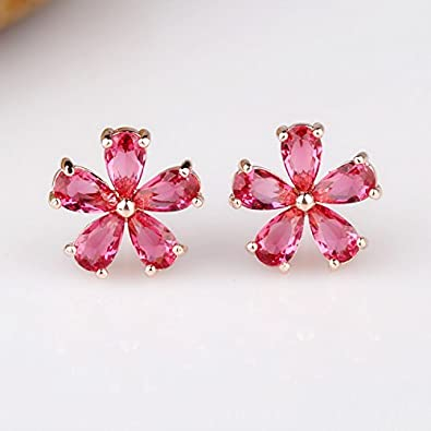 Amazoncom Korean flower earrings temperament women fashion girls