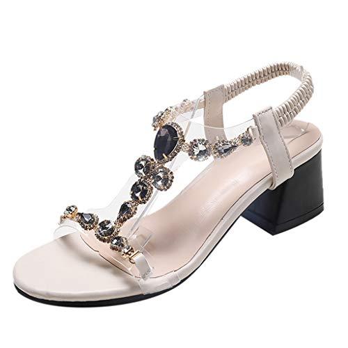 GHrcvdhw Summer Bohemian Coarse-Heeled Crystal Sandals Women Rhinestone Sandals Beach Shoes Gray