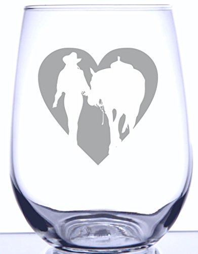 Girl & Horse Heart Silhouette - 17oz Stemless Wine Glass