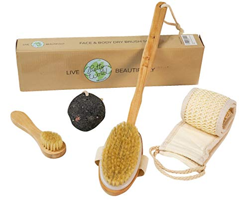 Dry Brushing Body & Face Brush Set will Exfoliate-Tighten Skin-Reduce Cellulite-Increase Lymphatic Health & Detoxification-Wood & Natural Boar Bristles-Black Lava Pumice Stone