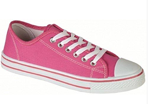 Click2Deal - Damen Frauen Mädchen Leinen Turnschuhe Flach Fitnessschuhe Sneaker Pumps Zum Schnüren - 4 UK / 37 EU, Rosa