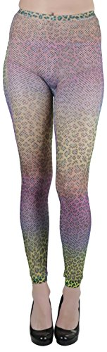ToBeInStyle Women's Fishnet Rainbow Patterened Leopard Print Footless Tights, Rainbow, One Size