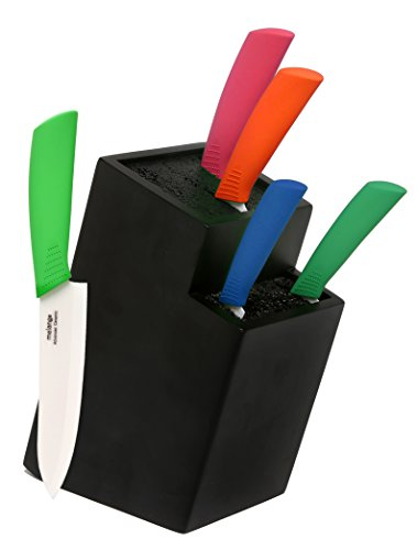 Melange 6-Piece Multicolor Handle and White Blade Ceramic Knife Set with 2-Tier Black Wood Universal Knife Block