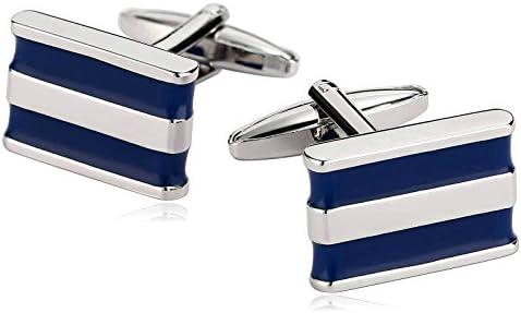 カフス メンズ シルバー ブルー四角形 ステンレスのビジネス 結婚式 シャツ おしゃれ カフスボタン