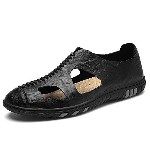 Black Casual Pigiami Sandali Pelle Uomo Casual Scarpe da Basse da Scarpe da Uomo Estivi in qBzCq6xwO