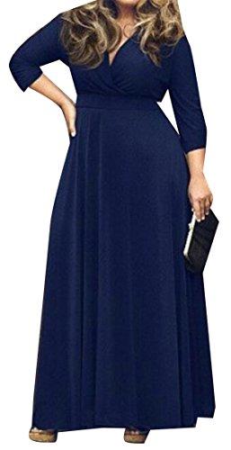 Cromoncent Des Femmes De La Marine Solide De Haute Robe Maxi Swing Long Plissé Cou V Profond Ceinture Bleue
