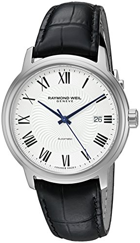 Raymond Weil Men's 'Maestro' Swiss Stainless Steel and Leather Automatic Watch, Color:Black (Model: 2237-STC-00659)