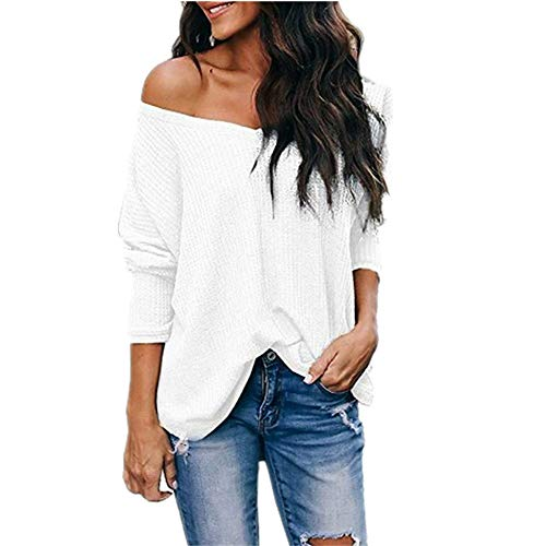 Leomodo Autumn New V-Neck one-Shoulder Head Loose Long-Sleeved T-Shirt White (Air Liam Tall Boot)