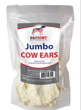JUMBO SIZE Cows Ears for Dogs by Patriot Pet, All Natural Dog Chews 10 Pack. Cow Ears for dogs of any Size. Perfect Dog Chew Treats that is Long Lasting. by Patriot Pet Products