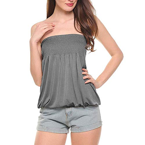 LXXUY Women Sleeveless Tube Top Ruched Strapless Blouse Pleated Tunic Tanks Tops (s, Charcoal Grey)