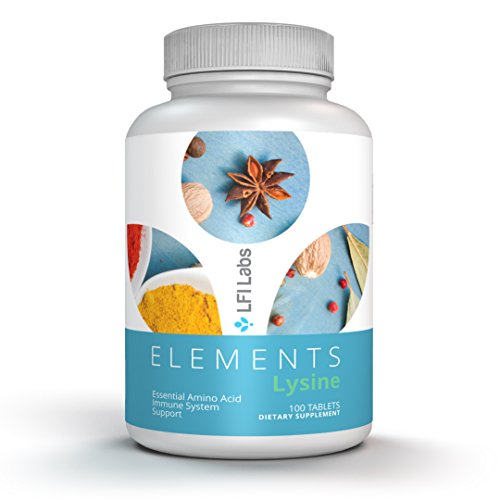 Elements Lysine Powder Tablets HCL – Prevent Cold Sores & Acne, Increase Calcium Absorption, Immune System Booster – LFI Labs Amino Acid Dietary Supplement Vegetarian 500mg 100 Servings