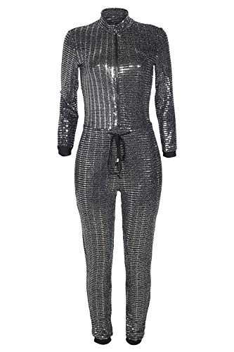 Adogirl Womens Sexy Bodycon Metallic Jumpsuit - Sparkly Drawstring One Piece Romper Playsuit Clubwear Sliver S