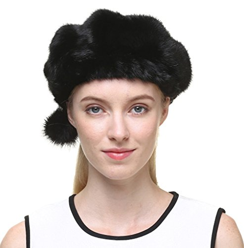 vogueearth Women'Real Mink Fur Winter Warmer Berets Hat Black Small