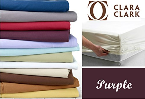 Clara Clark Premier 1800 Collection Single Fitted Sheet, Twin Size, Eggplant Purple (Twin Size Fitted Sheet compare prices)