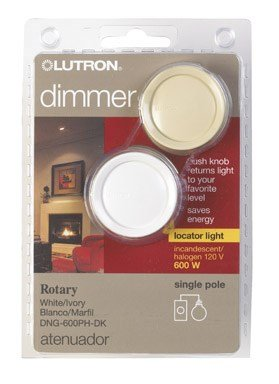 Dk Dimmer (Lutron Electronics DNG-600PH-DK Single Pole Push Rotary Dimmer with Nightlight, 600-watt, White/Ivory)